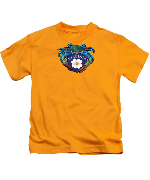 Blue Crab Virginia Dogwood Crest Kids T-Shirt