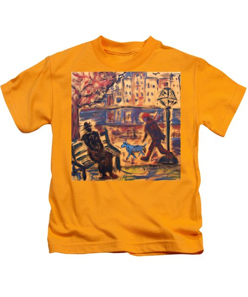 Blue Dog In The City Kids T-Shirt