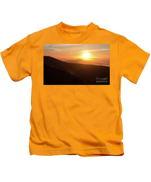 Bright Sun Rising Over The Mountains Kids T-Shirt