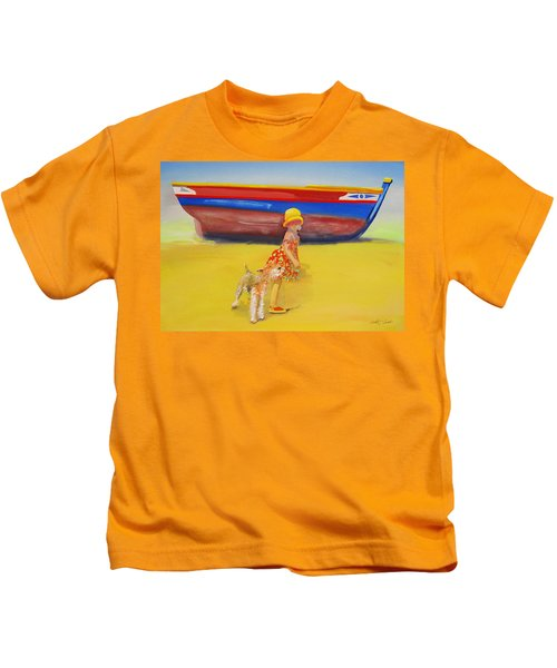 Brightly Painted Wooden Boats With Terrier And Friend Kids T-Shirt