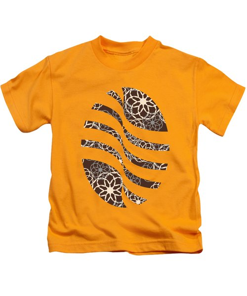 Brown And Silver Floral Pattern Art Kids T-Shirt