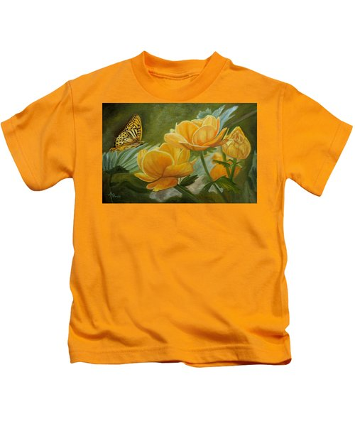 Butterfly Among Yellow Flowers Kids T-Shirt