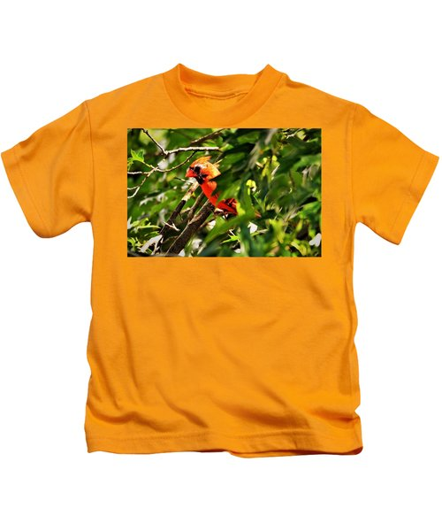 Cardinal In Tree Kids T-Shirt