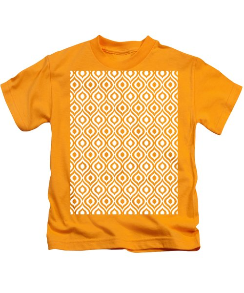 Circle And Oval Ikat In White T09-p0100 Kids T-Shirt