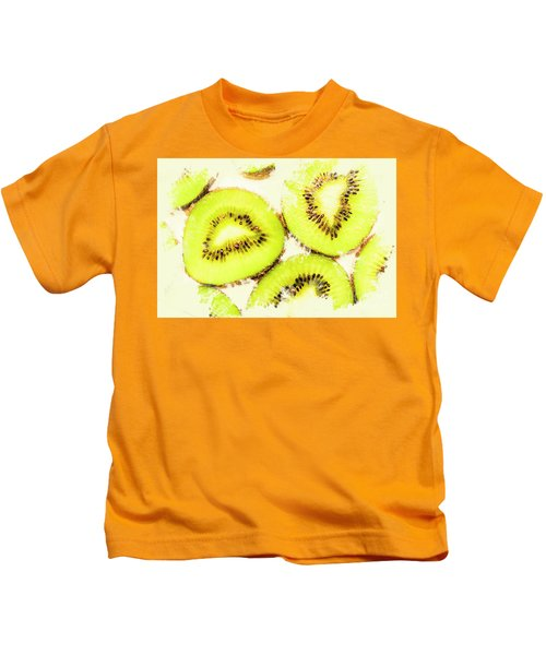 Close Up Of Kiwi Slices Kids T-Shirt by Jorgo Photography - Wall Art Gallery