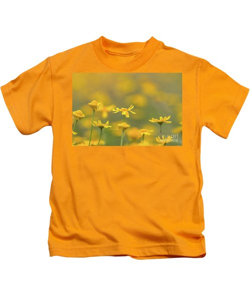 Close Up Of Yellow Flower With Blur Background Kids T-Shirt