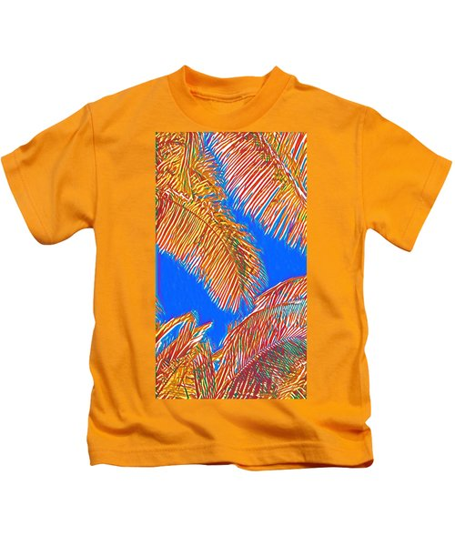 Coconut Palms In Red And Blue Kids T-Shirt