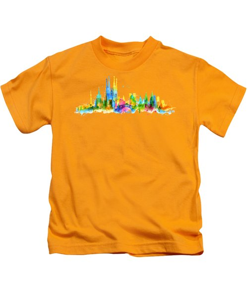Color Barcelona Skyline 01 Kids T-Shirt by Aloke Creative Store