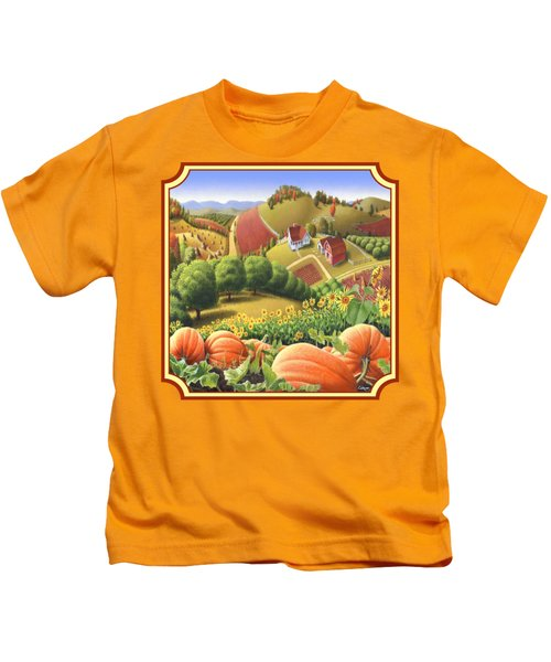 Country Landscape - Appalachian Pumpkin Patch - Country Farm Life - Square Format Kids T-Shirt