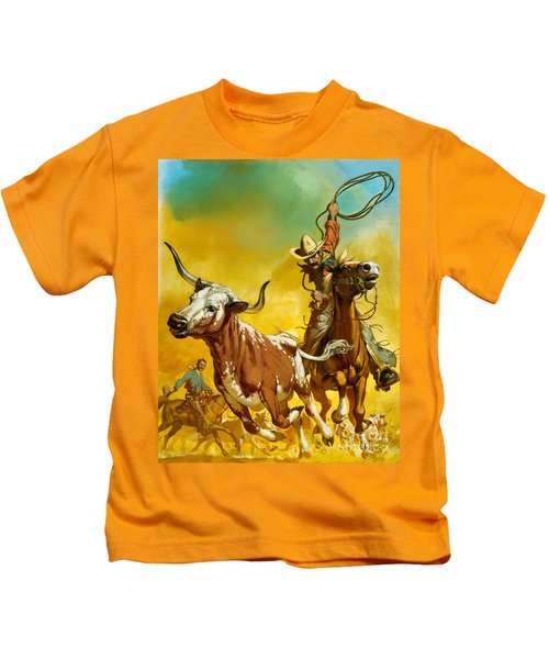 Cowboy Lassoing Cattle  Kids T-Shirt
