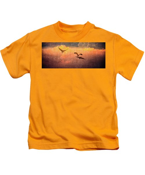 Cranes Lifting Into The Sky Kids T-Shirt