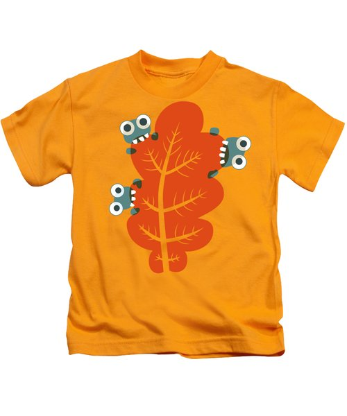 Cute Bugs Eat Autumn Leaf Kids T-Shirt