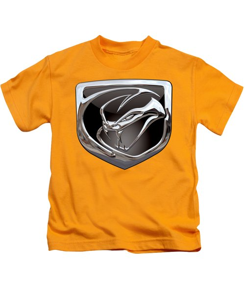 Dodge Viper 3 D  Badge Special Edition On Yellow Kids T-Shirt by Serge Averbukh