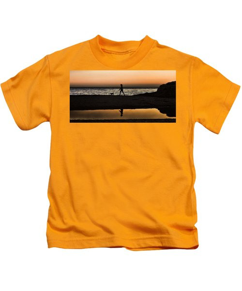 Dog Walker At Sunset Kids T-Shirt