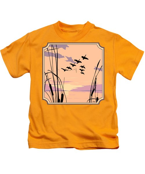 Ducks Flying Over The Lake Abstract Sunset - Square Format Kids T-Shirt