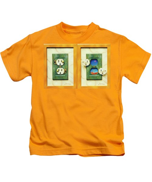 Electric View Miniature Shown Closed And Open Kids T-Shirt