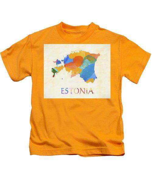 Estonia Watercolor Map Kids T-Shirt