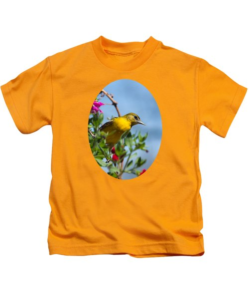Female Baltimore Oriole In A Flower Basket Kids T-Shirt by Christina Rollo