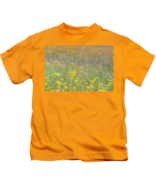 Field Of Yellow Flowers In A Sunny Spring Day Kids T-Shirt