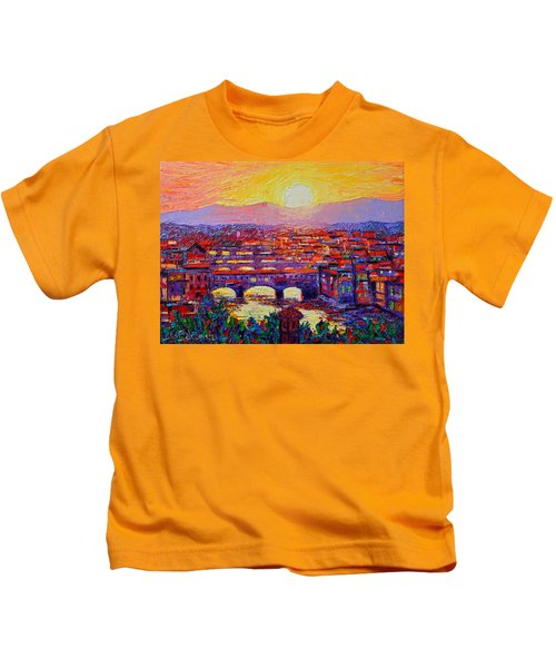 Florence Sunset Over Ponte Vecchio Abstract Impressionist Knife Oil Painting By Ana Maria Edulescu Kids T-Shirt