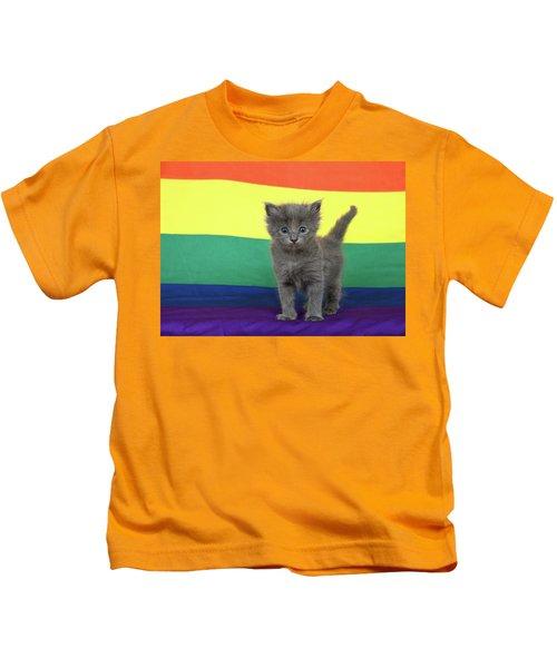 Gay Pride Grey Kitten Kids T-Shirt