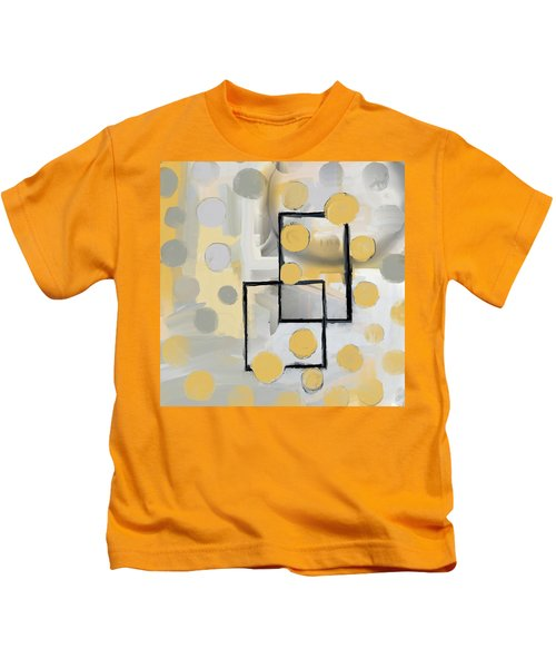 Gold And Grey Abstract Kids T-Shirt