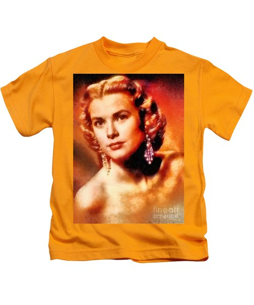 Grace Kelly, Vintage Hollywood Actress Kids T-Shirt by Frank Falcon