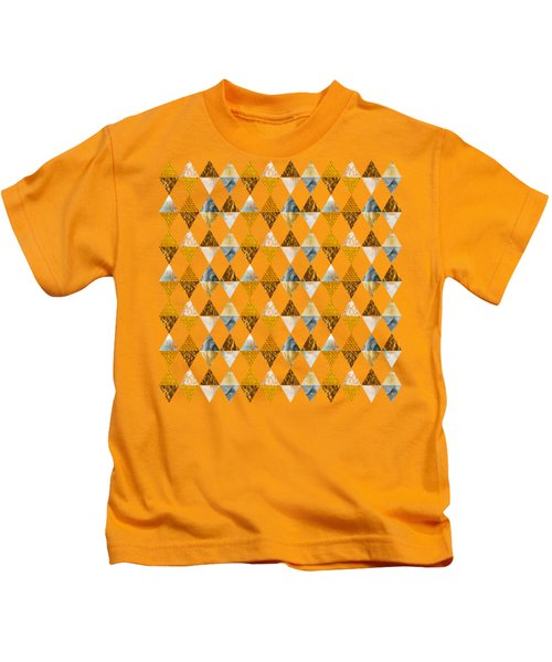 Graphic Pattern Funky Triangles - Golden Kids T-Shirt
