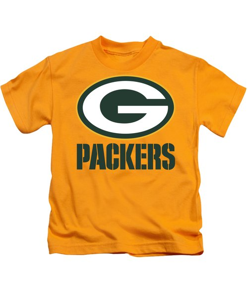 Green Bay Packers On An Abraded Steel Texture Kids T-Shirt