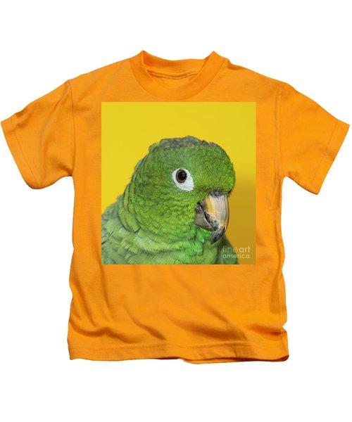 Green Parrot Head Shot Kids T-Shirt