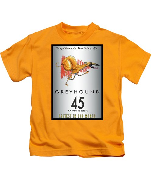 Greyhound 45 Mph Beer Kids T-Shirt by John LaFree