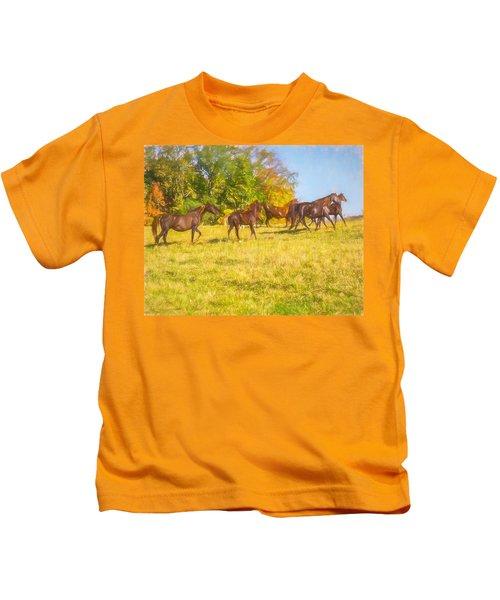 Group Of Morgan Horses Trotting Through Autumn Pasture. Kids T-Shirt