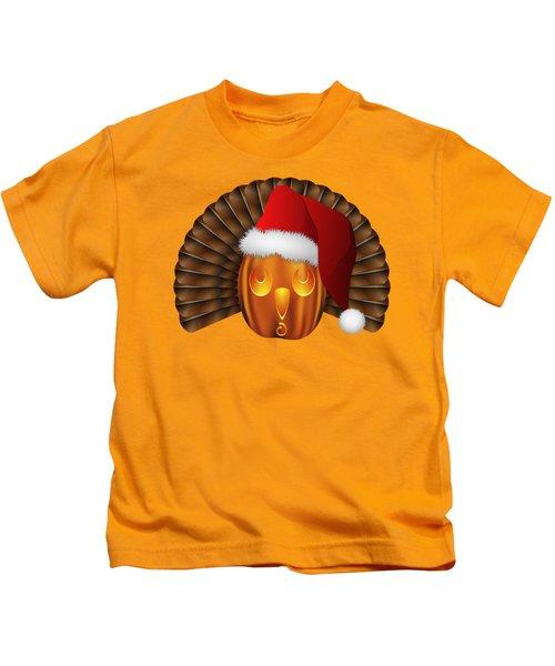 Hallowgivingmas Santa Turkey Pumpkin Kids T-Shirt