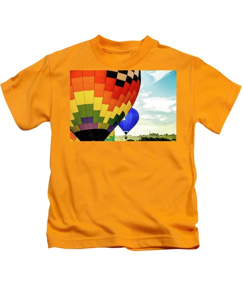 Hot Air Balloons Over Trees Kids T-Shirt