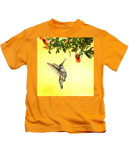 Kids T-Shirt featuring the photograph Hummingbird Under The Floral Canopy by William Jobes