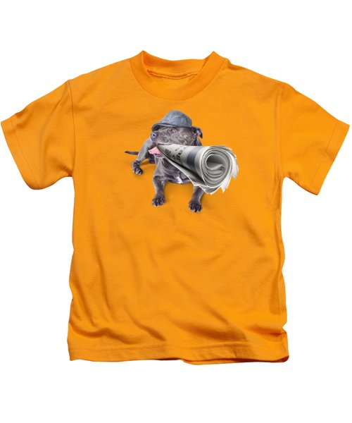 Isolated Newspaper Dog Carrying Latest News Kids T-Shirt