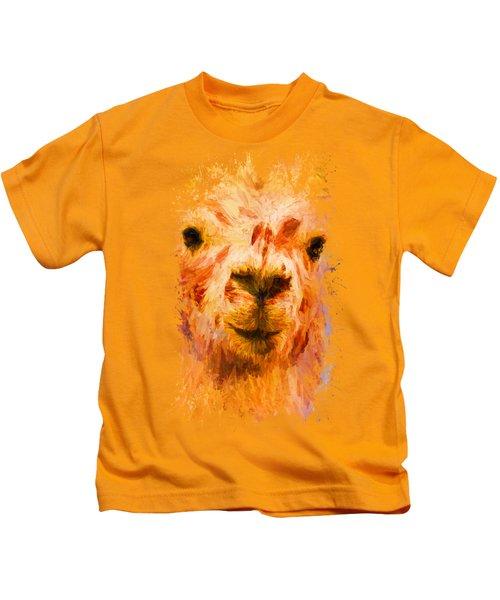 Jazzy Llama Colorful Animal Art By Jai Johnson Kids T-Shirt by Jai Johnson