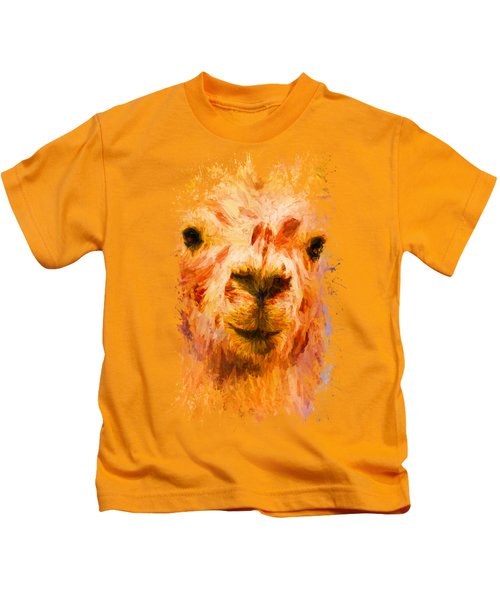Jazzy Llama Colorful Animal Art By Jai Johnson Kids T-Shirt
