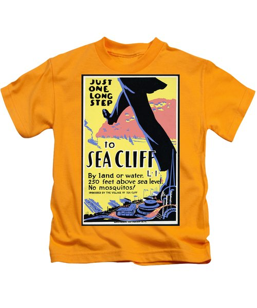 Just One Long Step To Sea Cliff - Long Island - Retro Travel Poster - Vintage Poster Kids T-Shirt