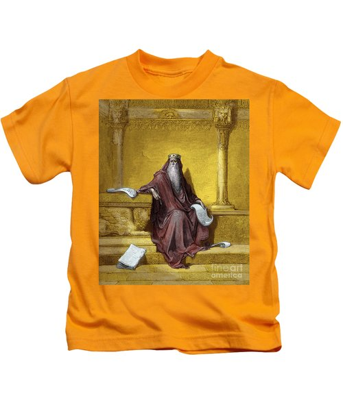 King Solomon Engraving By Gustave Dore Kids T-Shirt
