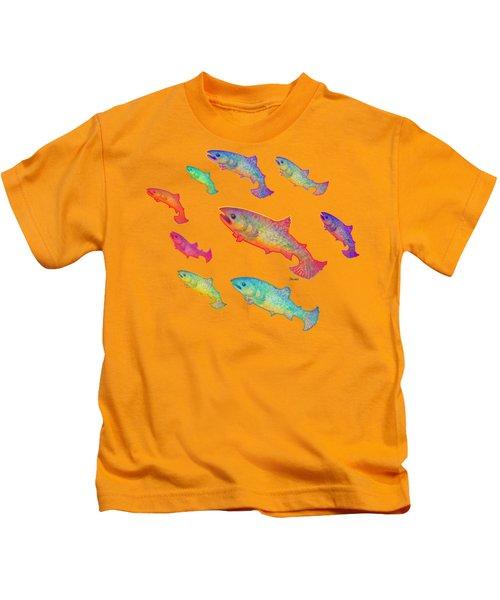 Leaping Salmon Design Kids T-Shirt