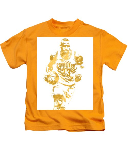 Lebron James Cleveland Cavaliers Pixel Art 7 Kids T-Shirt by Joe Hamilton