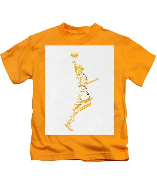 Lebron James Cleveland Cavaliers Pixel Art Kids T-Shirt by Joe Hamilton