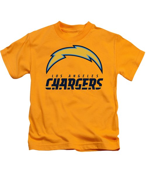 Los Angeles Chargers On An Abraded Steel Texture Kids T-Shirt
