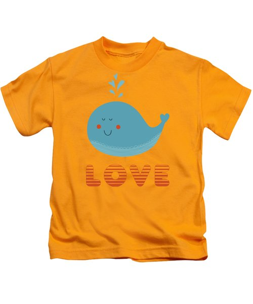 Love Whale Cute Animals Kids T-Shirt by Edward Fielding