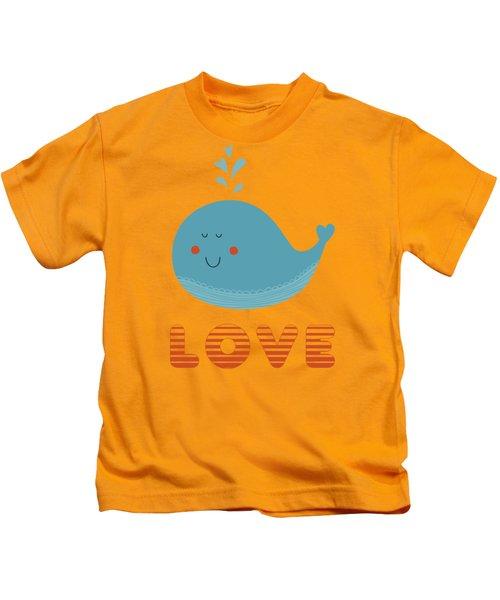 Love Whale Cute Animals Kids T-Shirt
