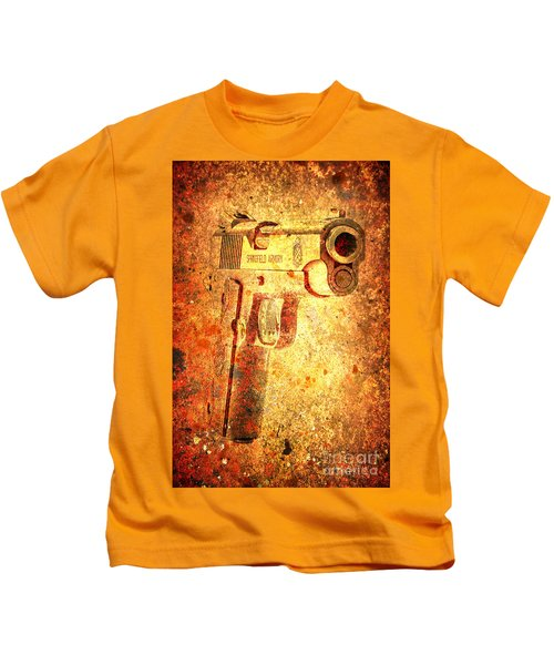 M1911 Muzzle On Rusted Background 3/4 View Kids T-Shirt