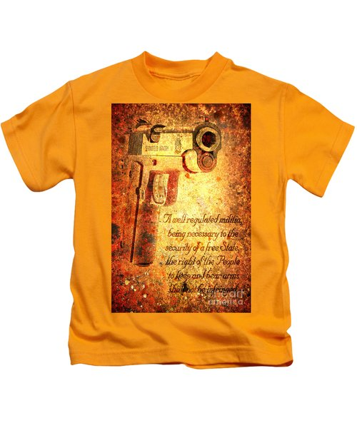 M1911 Pistol And Second Amendment On Rusted Overlay Kids T-Shirt