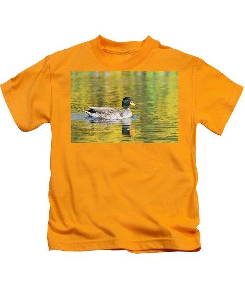 Mallard In Yellow Kids T-Shirt