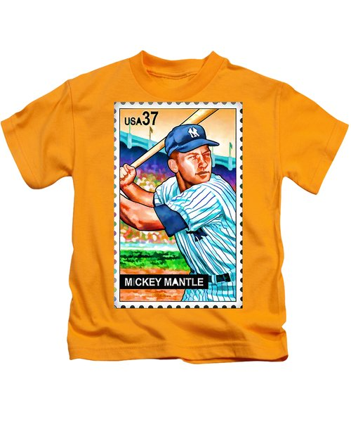 Mickey Mantle Kids T-Shirt by Lanjee Chee